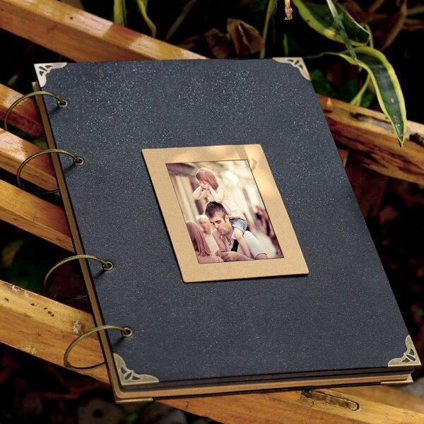 Couverture noire Cool grand 36*26 CM Album Photo fait à la main bricolage ferraille carte noire Kraft feuilles de papier Album de Scrapbook Vintage 38 feuilles 76 P