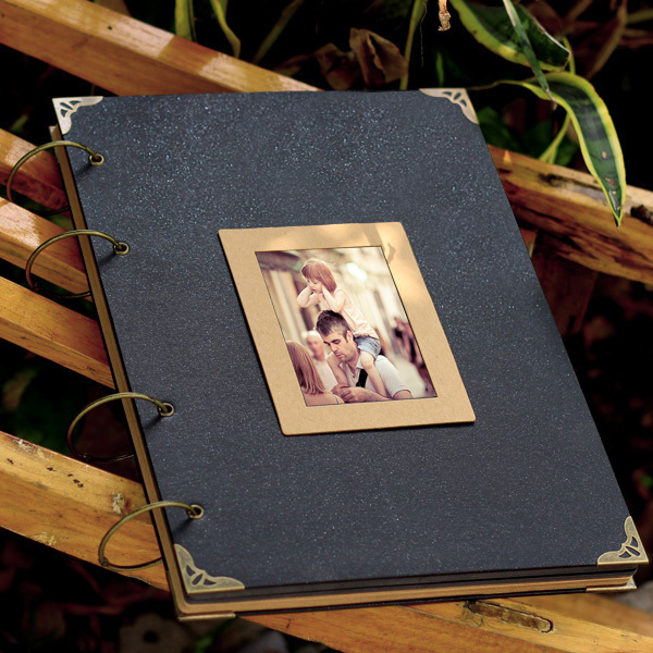 Couverture noire Cool grand 36*26 CM Album Photo fait à la main bricolage ferraille carte noire Kraft feuilles de papier Album de Scrapbook Vintage 38 feuilles 76 P-in Photo Albums from Maison & Animalerie    1