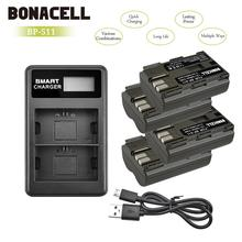 Bonacell 7.2V 2200mAh BP-511 BP-511A BP 511A Battery+LCD Dual Charger For Canon EOS 40D 300D 5D 20D 30D 50D 10D G6 L10 3 x 8400mah bp 970g bp 970g bp 975 batteries lcd dual quick charger kits for canon eos c100 mark ii eos c300 xf100 xf105