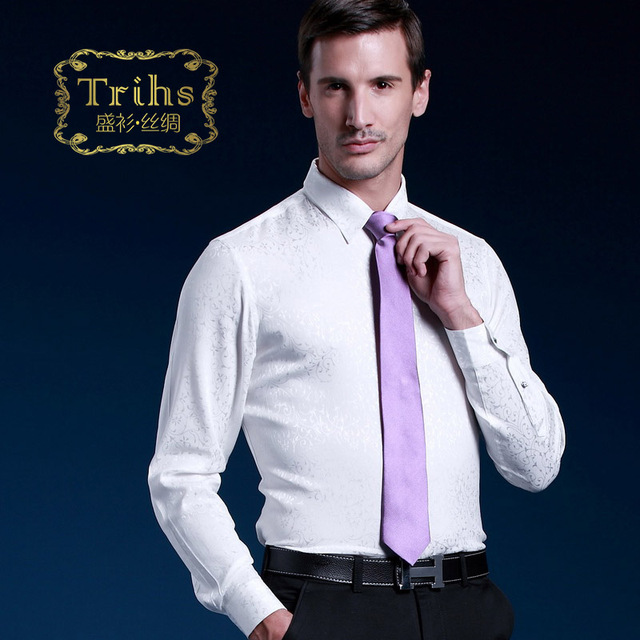 Trihs elastic silk sang bo satin white mulberry silk shirt male long-sleeve tang grass rich