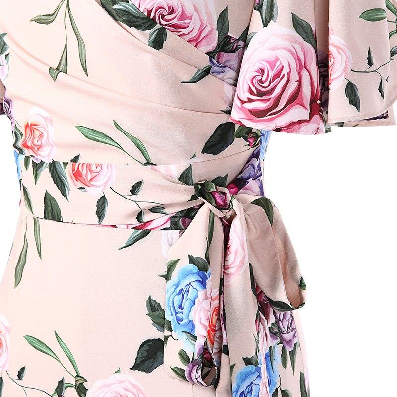 Up D'impression En V Feuille Robe Féminine 2018 Mousseline Mode Taille See Soie Manches De Lotus Abricot Nouveau Chart Nouvelle Lace wSqtTZE