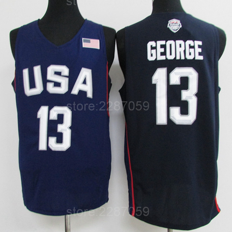 Ediwallen High Men 13 Paul George Basketball Jerseys 2016 USA Dream Twelve Team Jerseys Navy Blue White Wholesales Lowest Price ...