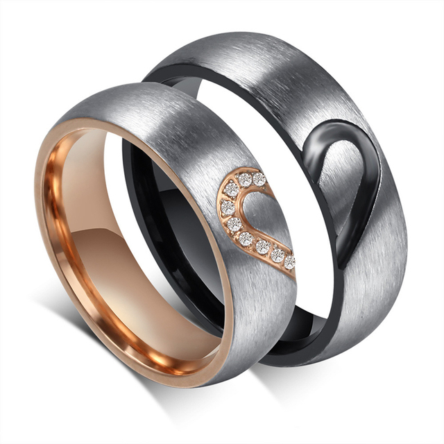 Aaa Cz Couple Ring Black And Rose Gold Color Stainless Steel