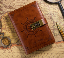Password Notebook Vintage Brown B6 Rudder Leather Diary Planner Agendas Notebook With Combination Lock 112 sheets