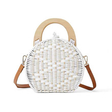 New Ladies Shoulder Bag Fashion Wooden Handle Rattan Knit Handbag White Weaving Straw Messenger