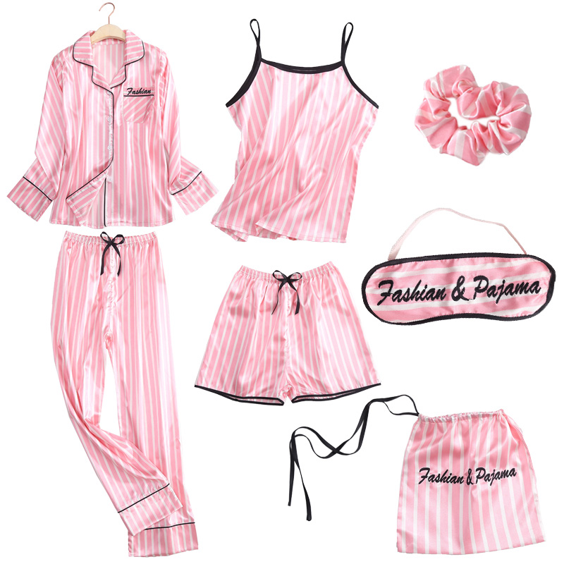 Women Pajamas Spring Summer 7 Pcs Set Silk Elegant Pink Stripe Shorts Long Sleeve Top Elastic Waist Pants Full Lounge Sleepwear
