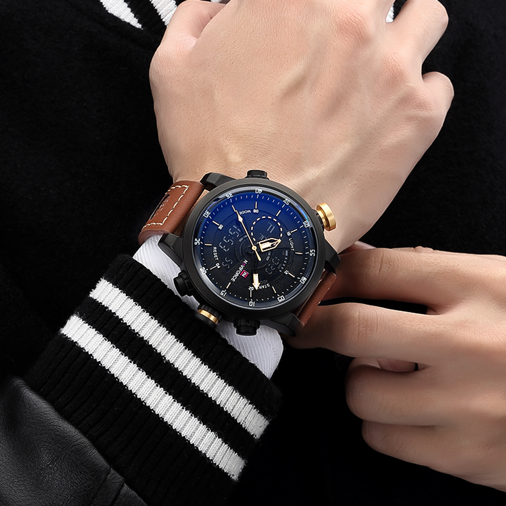 blue pilot gold case zoom dial strap nubuck rose watch m leather chronographwaterresist product chronograph watches waterresist s davis men wristwatch mens