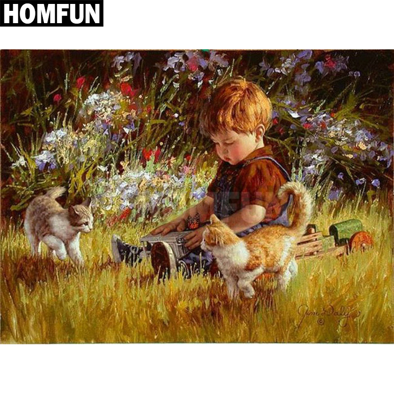 HOMFUN Full SquareRound Drill 5D DIY Diamond Painting Oil painting boy cat Embroidery Cross Stitch 3D Home Decor Gift A00202