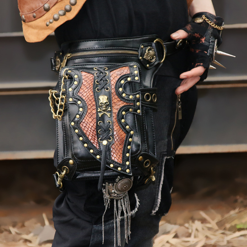 Black PU Leather Rivet Steampunk Leg Holster Waist Bag Gothic Shoulder Messenger Bags Punk Rock Corsets Outfits Accessories