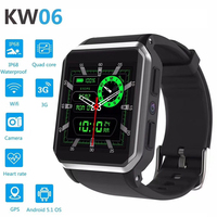 GPS Waterproof Smart Watches IP68 Watch Band Heart Rate Monitor Android 5.1 MTK6580 512MB ROM 8GB Bluetooth Fitness Tracker KW06