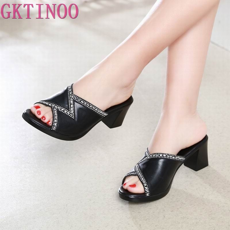GKTINOO 2019 New Fashion Casual High Heel Women Slippers Shoes Open Toe Thick Crystal Plus Size Roman Shoes Summer Sandals-in Slippers from Shoes on AliExpress - 11.11_Double 11_Singles' Day 1