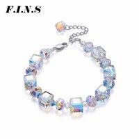 F.I.N.S Square Austrian Crystal Women's Bracelet Luxury Wedding Jewelry Charm Bracelet Ladies Best Friend Hand Bracelet Jewelry