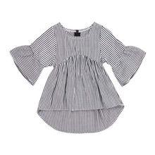 Топы для новорожденных девочек, рубашка в полоску, блузка, осенняя одежда из хлопка для детей 0-24 месяцев
