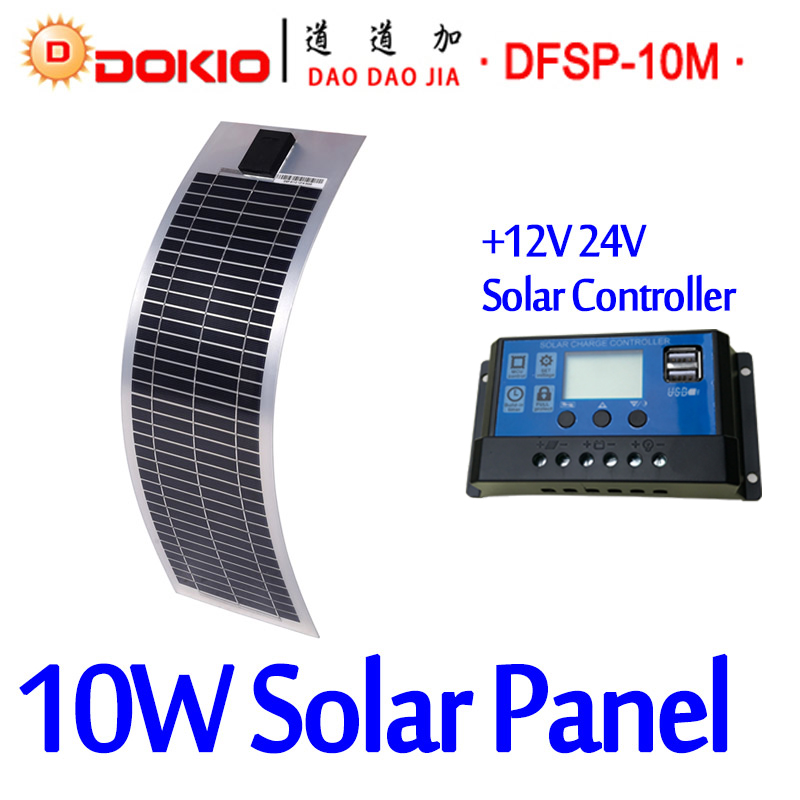 DOKIO Brand 10W 18V Flexible Solar Panel China + 10A 12V/24V Controller 10 Watt Flexible Solar Panels Cell/Module/System Charger quality plastic poker waterproof black playing cards limited edition collection diamond poker cards creative gift standard
