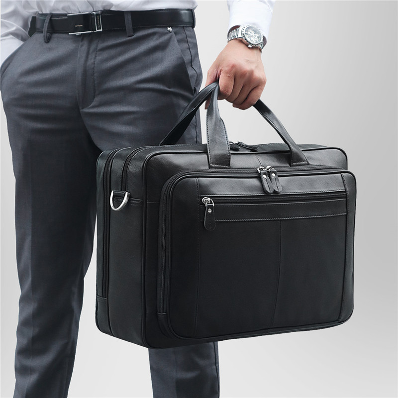 Nesitu Big Black Coffee Genuine Leather Briefcase Male Portfolio 14 15 6 Laptop Business Travel Men