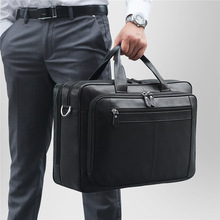 Men Briefcase Messenger-Bag Portfolio Laptop Black Genuine-Leather Business Travel Male
