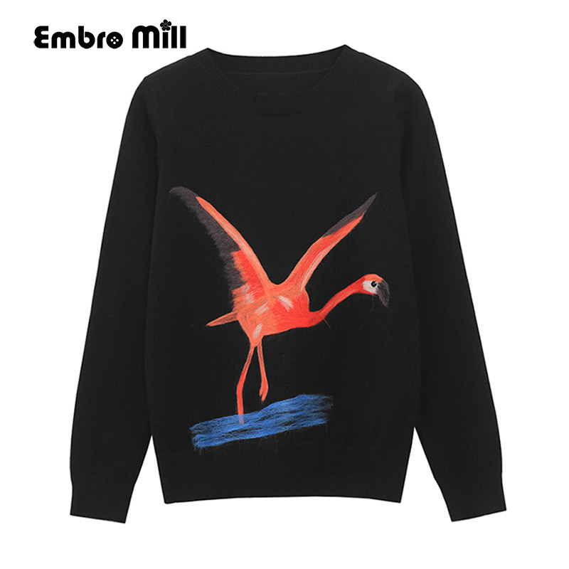 pullover sweater women autumn and winter runway elegant lady loose black embroidery flamingo knitted christmas sweater female in pullovers from womens