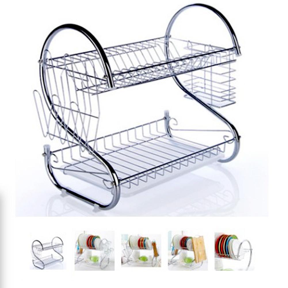 Creative Stainless Steel Dish Rack Double Drain Dish Rack Shelf Drying Dishware Kitchen Storage Supplies
