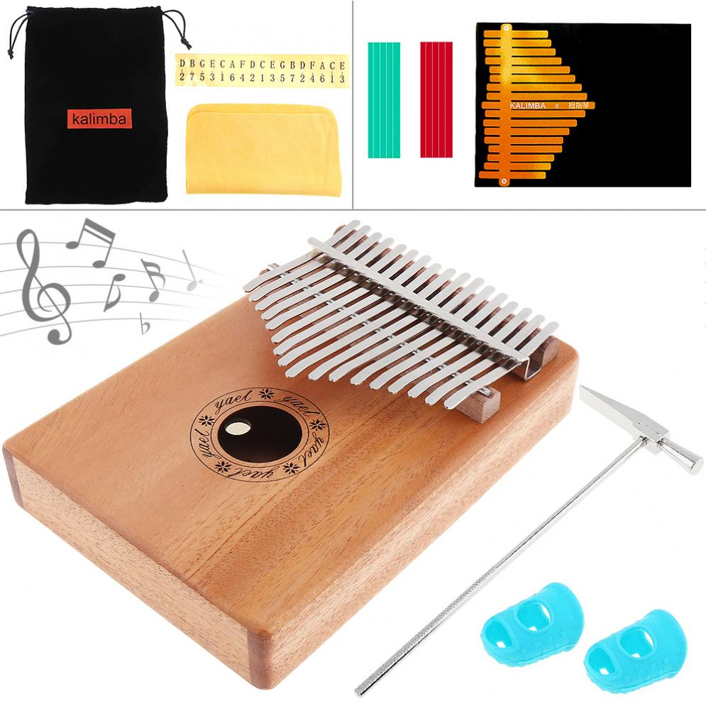 Steady Kalimba Solid Mahogany Thumb Piano Mbira Natural Mini Keyboard Instrument With 7pcs Accessories Wide Varieties Home