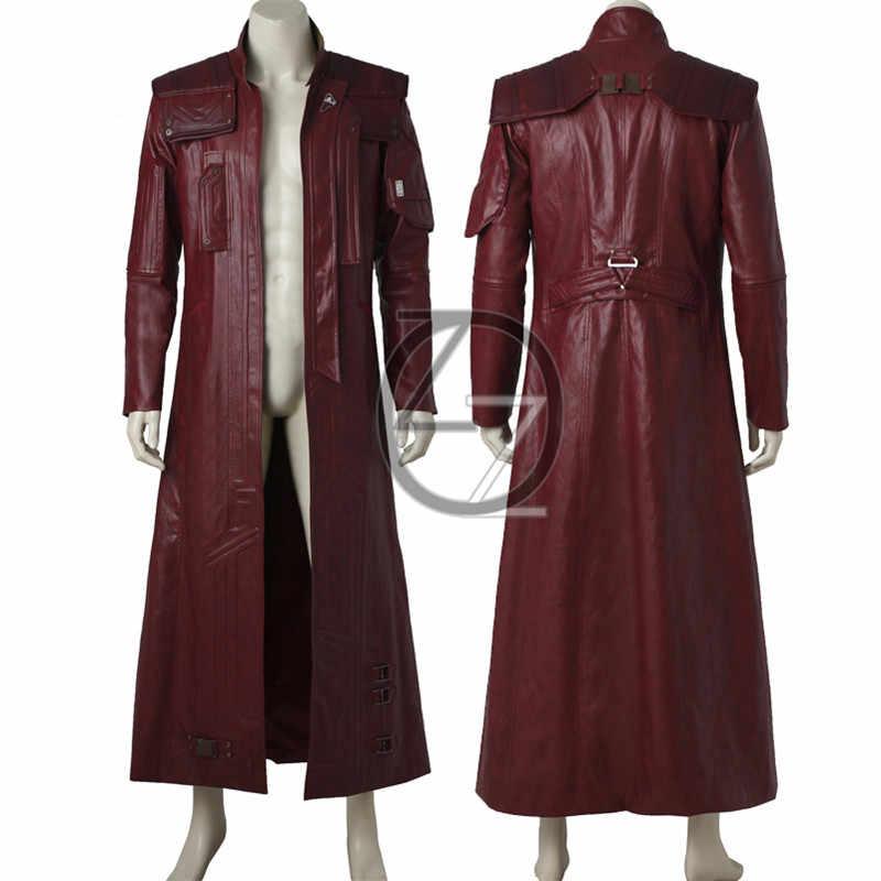 Guardiões da galáxia 2 estrela senhor jaqueta trajes de halloween adulto peter quill estrela senhor cosplay traje longo jaqueta de couro