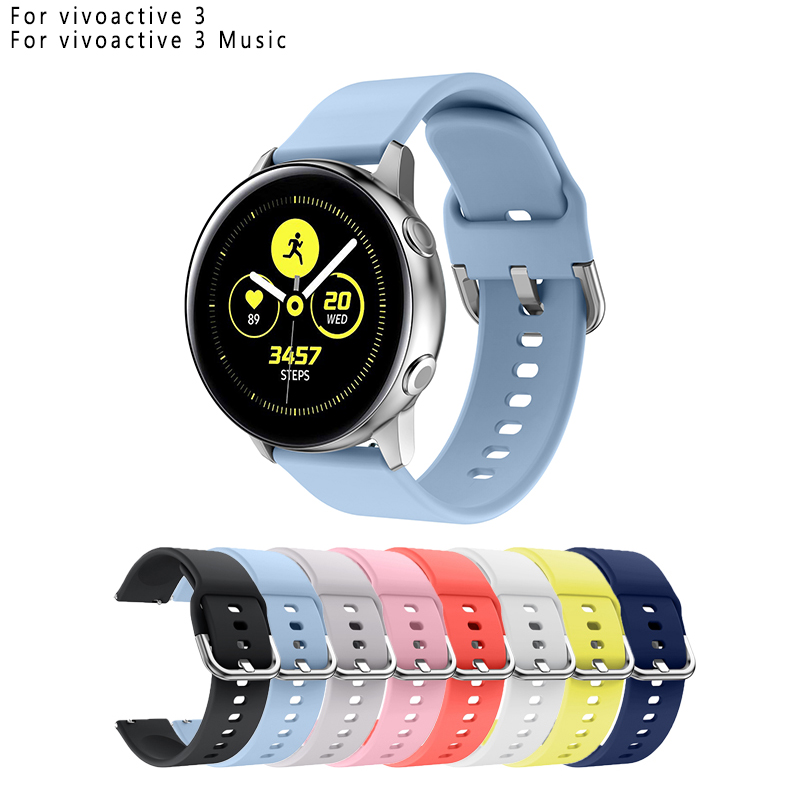 Silicone Strap Watch-Band Smart-Watch Garmin Vivoactive Pure-Color 20mm
