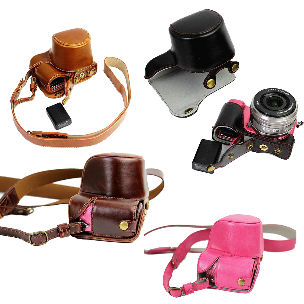 New Luxury Pu Leather Camera Case For Sony A5000 A5100 A6000 A6300 Camera Bag With Strap take our battery easy цены онлайн