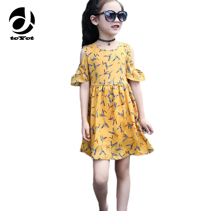 6-12T Bohemian Floral Dress For Teenager Summer Spring Puff Sleeve Flower Girl Dresses Yellow Kids Teen Dress Children Clothing floral print puff sleeve fit
