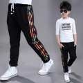 Boy spring clothing Big boy fashionable pants Teenagers dazzle colour knitting pants kids autumn black casual trousers cotton