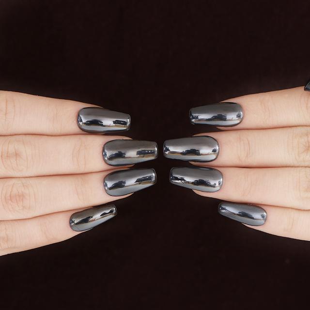 1 Box Black Nail Glitter Powder Mirror Effect Shinny 0.5g/1g Manicure Black Base Chrome Pigment Dust for Nail Art Decorations