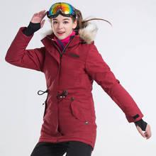 ec6a46bd559d8 Medio largo mujeres impermeable a prueba de viento chaqueta de invierno  mujer chaqueta de esquí chaqueta de snowboard nieve del .