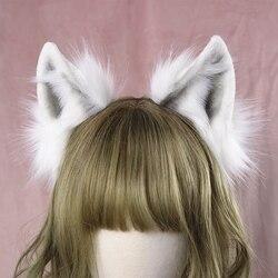 Lolita meisje haar accessoires Dier Witte Wolf Oren haarband voor vrouwen chouchou Hoofddeksels Hand Werk