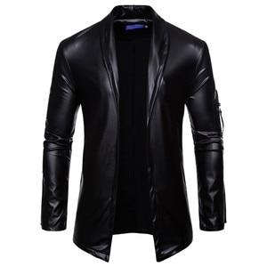 Image 2 - PU Leather Suit Blazer Men 2018 Luxury Gold Solid Color Blazers Jacket Mens Casual Slim Fit Cardigan Nightclub DJ Stage Costumes