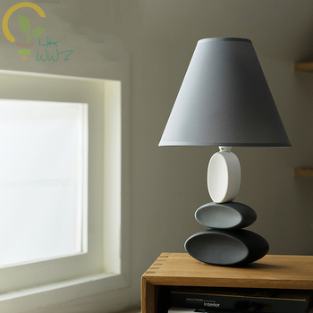 Ceramics Artistic Table Lamps Bedroom Bedside Simple Cozy Desk Lamp American Style Living Room Study E14 Led Table Light
