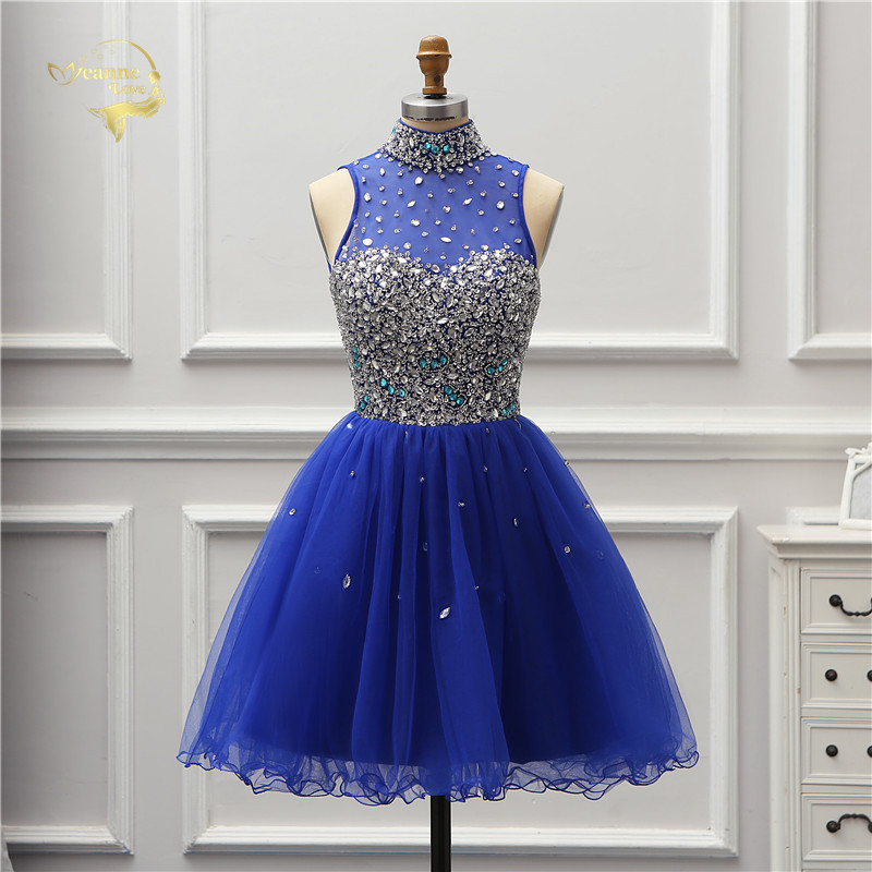 Jeanne Love Sexy Knee Length   Cocktail     Dresses   2019 Crystal Illusion Royal Blue Party   Dress   Elegant Halter Girl Lady JO002945