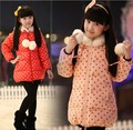 2014 new design winter baby girls jacket fashion children's long sleeve wool dot outwear