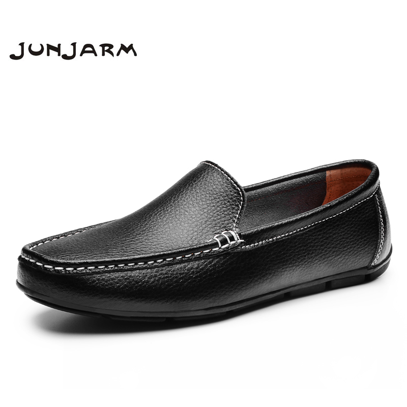 JUNJARM 2017 Men Flat Shoes Quality Split Leather Men Loafers Solid Black Breathable Slip-On Outdoor Men Driving Shoes branded men s penny loafes casual men s full grain leather emboss crocodile boat shoes slip on breathable moccasin driving shoes