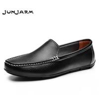 JUNJARM 2017 Men Flat Shoes Quality Split Leather Men Loafers Solid Black Breathable Slip-On Outdoor Men Driving Shoes