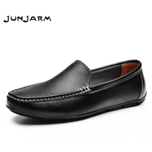 JUNJARM Men Flat Shoes Quality Split Leather Men Loafers Solid Black Breathable Slip-On Outdoor Men Driving Shoes