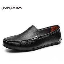 JUNJARM Men Flat Shoes Quality Split Leather Men Loafers Solid Black Breathable Slip-On Outdoor Men Driving Shoes