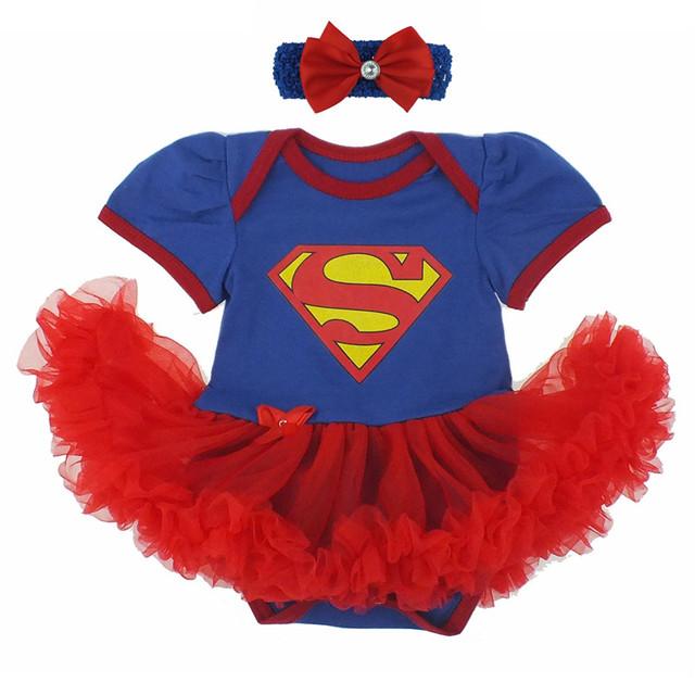 2017 hot moda romper dress para o primeiro natal do bebê recém-nascido trajes superman batman festa de aniversário tutu dress bebe vestido