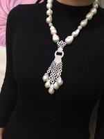 Барокко природа пресной воды Жемчужное ожерелье стерлингового серебра 925 пробы с фианит кисточкой Женская мода ювелирные изделия для парти