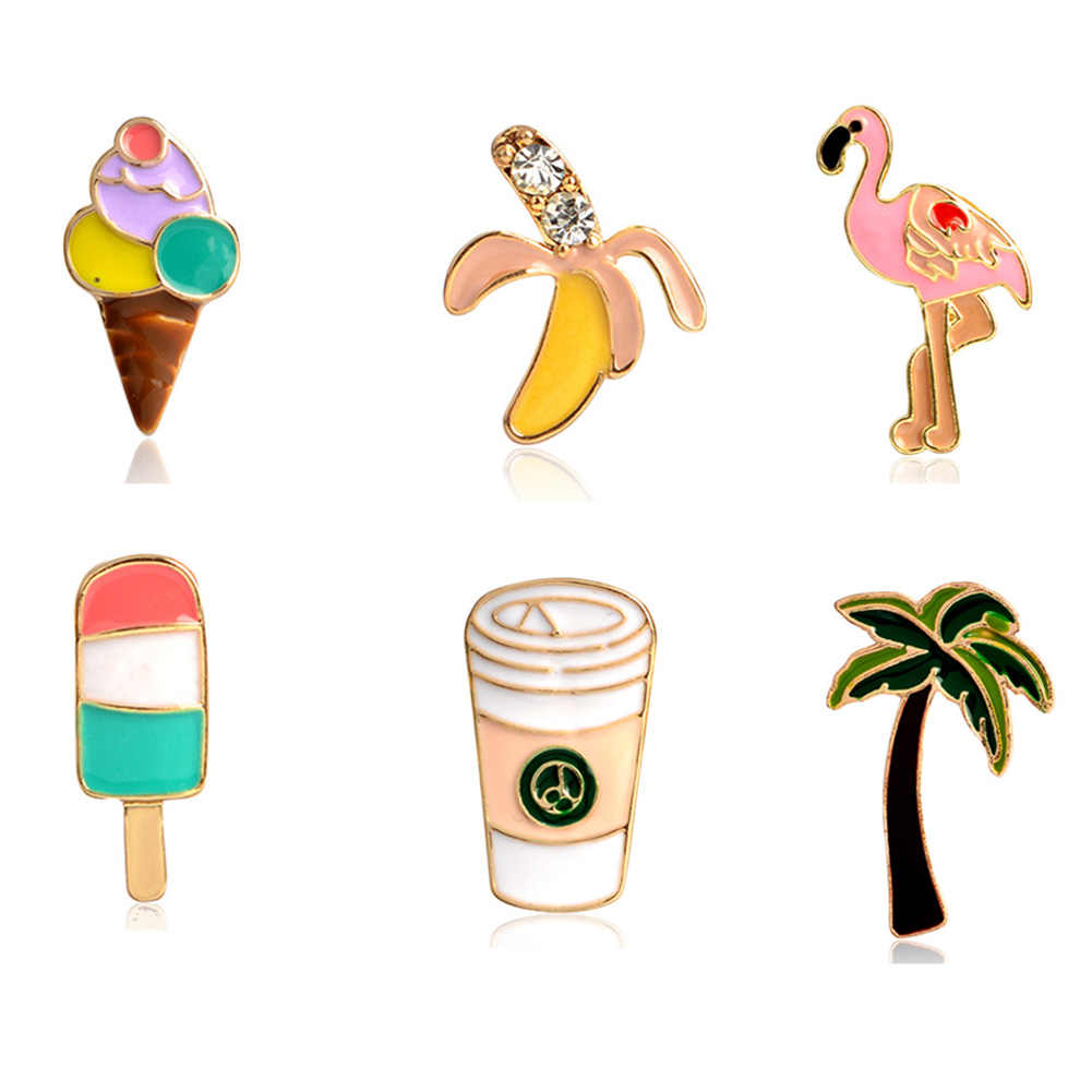 Palm Tree Flamingo Es Loli Krim Pisang Cangkir Kopi Pin Tombol Hewan Logam Bros Tas Ja ^ ^ Cket Kerah lencana Perhiasan 1 Pcs