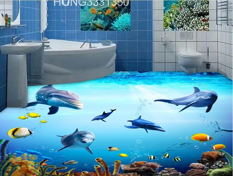 ФОТО customized photo wallpaper kids room 3d floor painting dolphin wallpaper 3d flooring waterproof-wallpaper-for-bathroom