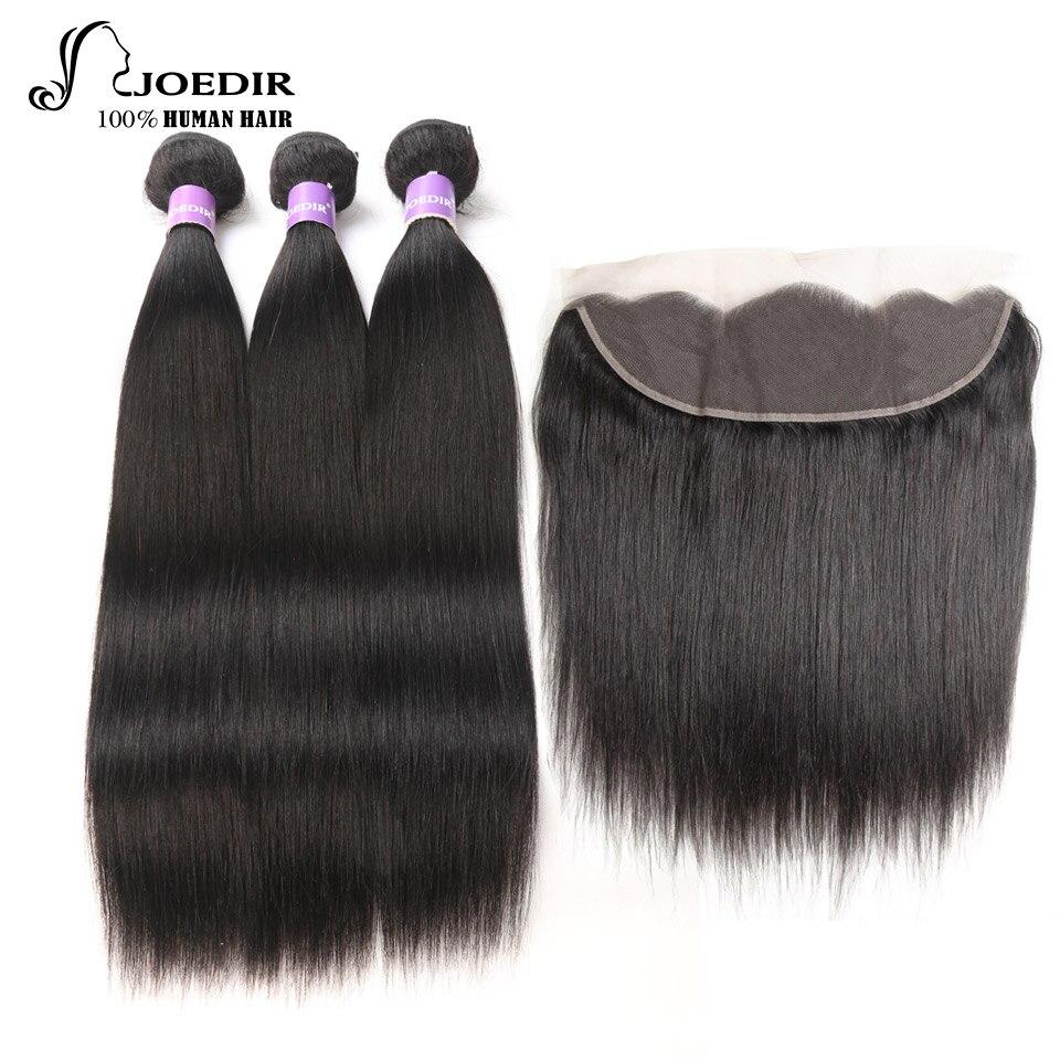 Joedir Hair Peruvian Straight Hair Weave Bundles Lace Frontal Closure Human Hair 3 Bundles With Frontal Free Shipping