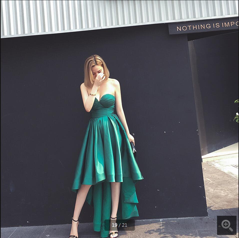 Élégant vert une ligne haute basse robe de bal chérie cou sexy robes de bal meilleure vente sexy robes de bal