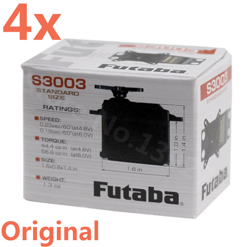 4Pieces Original Futaba S3003 Standard Steering Gear Box Of S3003 Servo Steering Remote Control Model For JR RC Robot Car Plane injora 1pcs 15cm 30cm rc servo extension y wire cable for jr futaba rc model