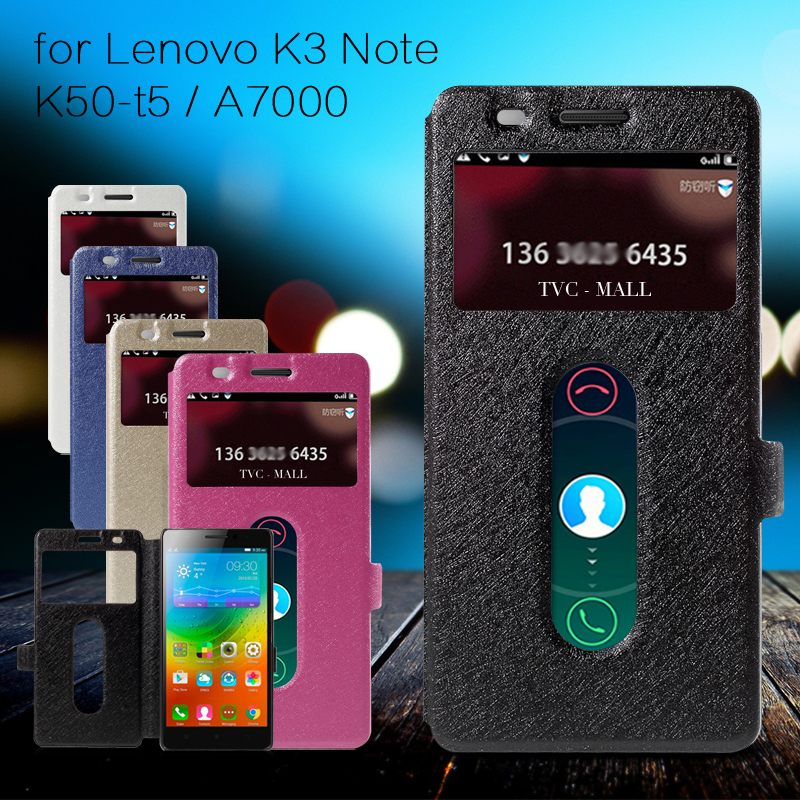 Lxury Bag For Lenovo K3 Note A7000 Case Silk Texture Dual View Leather Cover For Lenovo K3 Note K50-t5 / A7000 - 5.5 inch