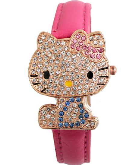 Lovely Fashion Hello Kitty Watch Children Girl Women Dress Crystal Quartz Wristwatch Female Wrist Watch Cute