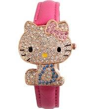 La manera encantadora hello kitty reloj de los niños de la muchacha de las mujeres de cristal de cuarzo vestido reloj de pulsera mujer linda 1201703032
