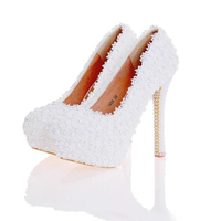 Lace Flower Wedding Shoes Beautiful Handmade Women High Heels Girl Party Prom Pumps Bridal Shoes White